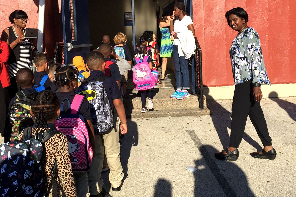 Teachers and students at Lea Elementary in West Philadelphia.