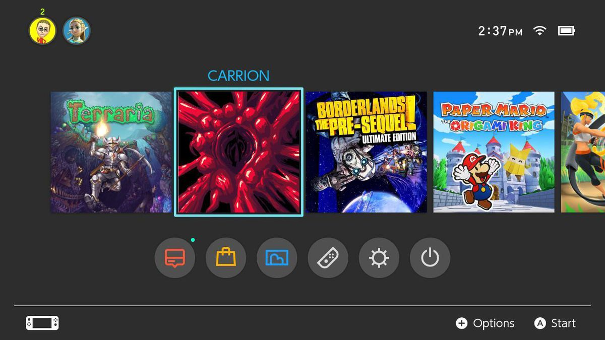 The Carrion icon on Nintendo Switch