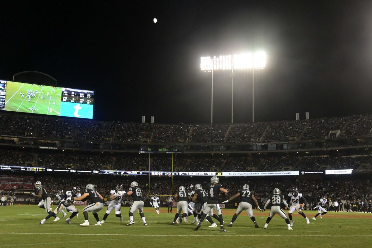 General overall view as Oakland Raiders quarterback Derek Carr throws the ball against the Denver Broncos at Oakland-Alameda County Coliseum.