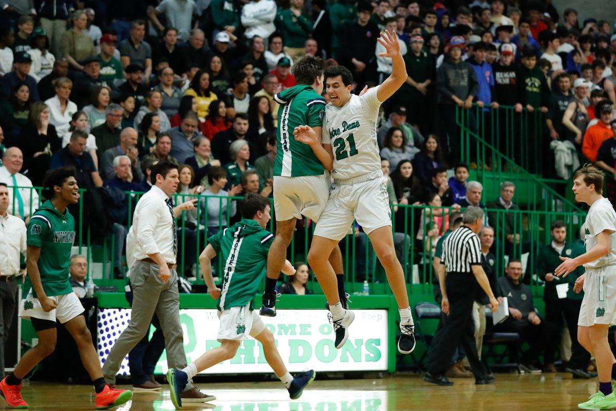 Notre Dame's Jason Bergstrom (21) celebrates during the game against St. Patrick.