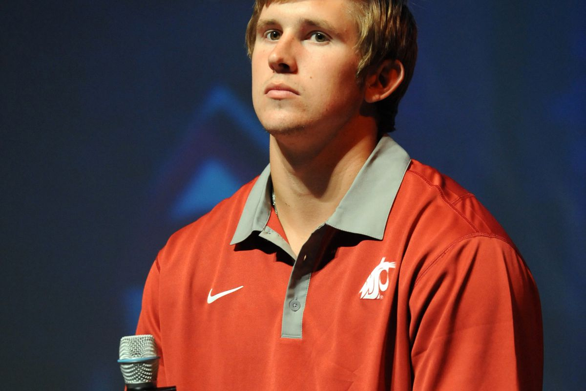 July 24, 2012; Los Angeles, CA, USA;     Washington State Cougars quarterback Jeff Tuel answers media questions during PAC-12 Media Day at Universal Studios Hollywood. Mandatory Credit: Jayne Kamin-Oncea-US PRESSWIRE