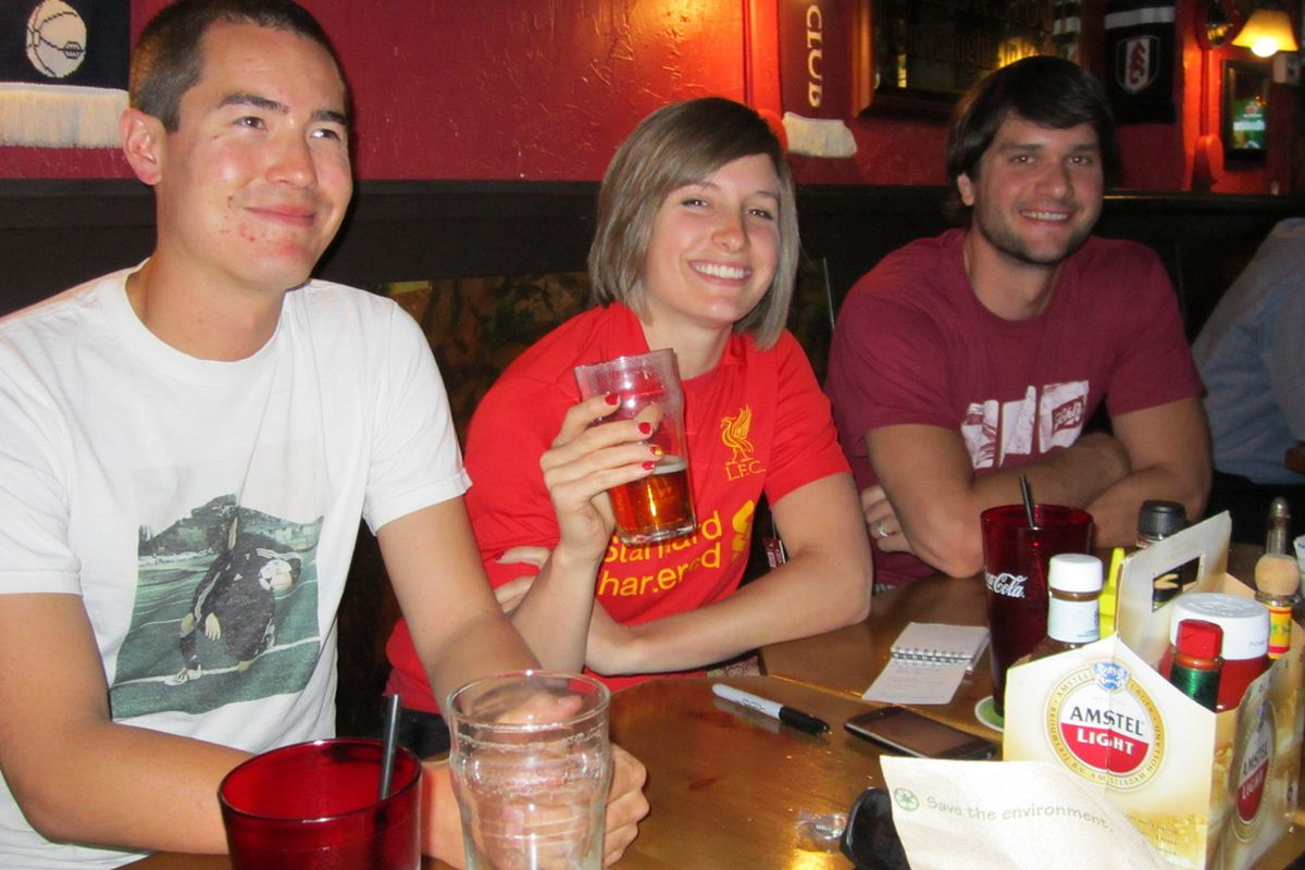 Enjoying the ambiance at <strong>The British Bulldog</strong> on the evening of June 13, 2012 are soccer diehards, from left, Sean Manning, Tess Falcone and Chris Kortsha.
