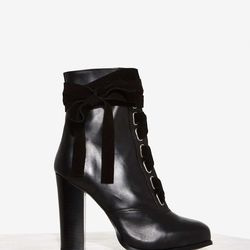 """Maybe more Victorian than cyber punk, these ladylike """"hiking"""" booties from Nasty Gal deserve a spot in the mix."""