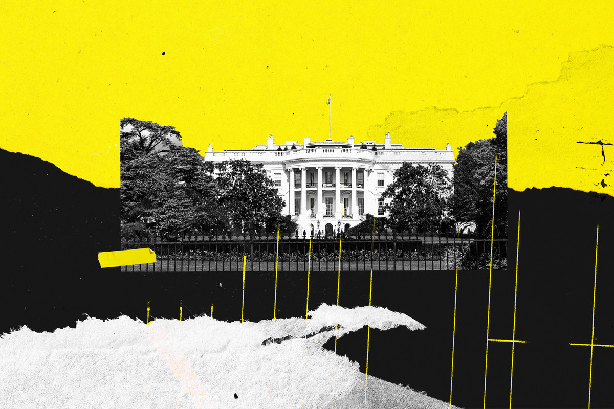 An illustration of the White House and black and yellow jagged shapes.
