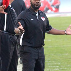DB coach Ray Crockett is incredulous with the refs.