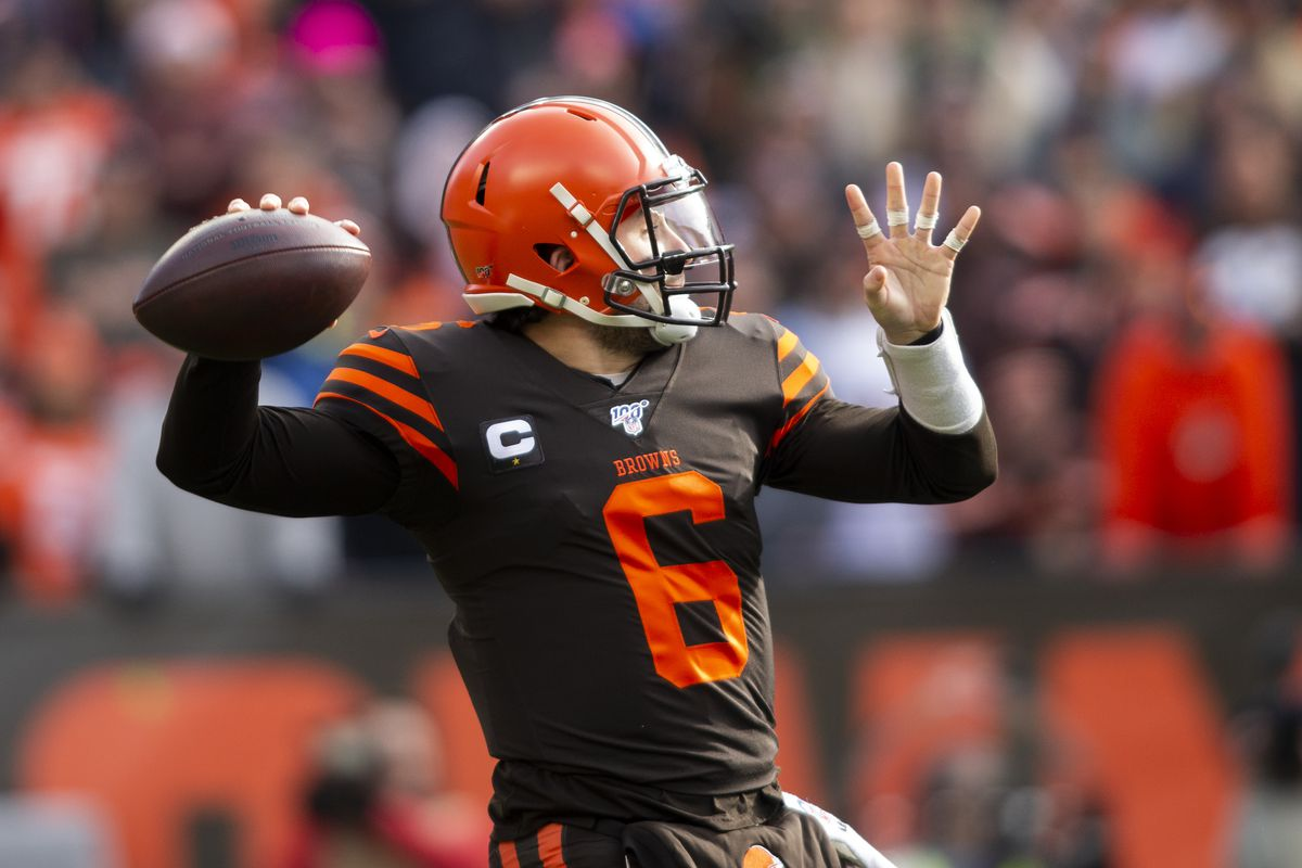 Cleveland Browns quarterback Baker Mayfield throws the ball against the Cincinnati Bengals during the first quarter at FirstEnergy Stadium.