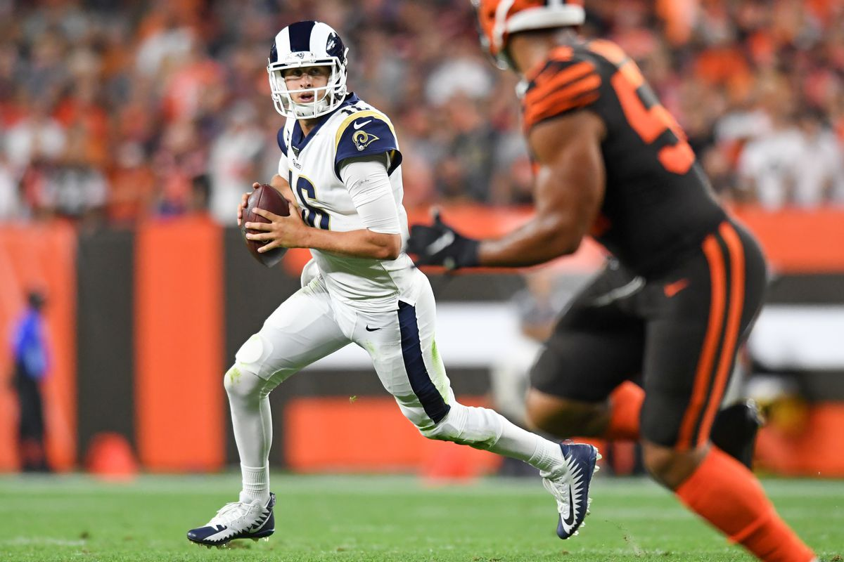 Quarterback Jared Goff of the Los Angeles Rams looks for an open receiver in the fourth quarter of a game against the Cleveland Browns on September 22, 2019 at FirstEnergy Stadium in Cleveland, Ohio. Los Angeles won 20-13.