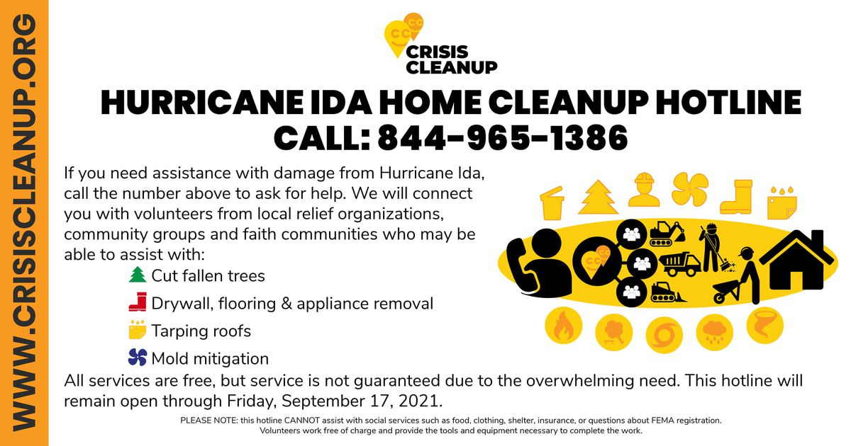 A Hurricane Ida home cleanup hotline has been established to help those needing assistance.