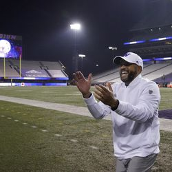 Washington coach Jimmy Lake smiles in an empty Husky Stadium after Washington defeated Utah 24-21 in an NCAA college football game Saturday, Nov. 28, 2020, in Seattle. Due to the COVID-19 pandemic, no fans were in attendance.