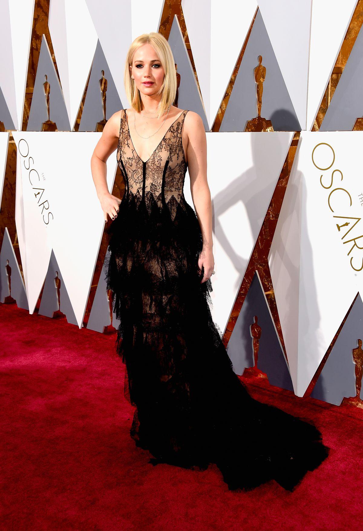 Jennifer Lawrence in custom Dior at the 2016 Oscars.