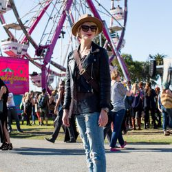 Ashley Daniloff; Why we love her look: the red lip pairs perfectly with the ferris wheel.