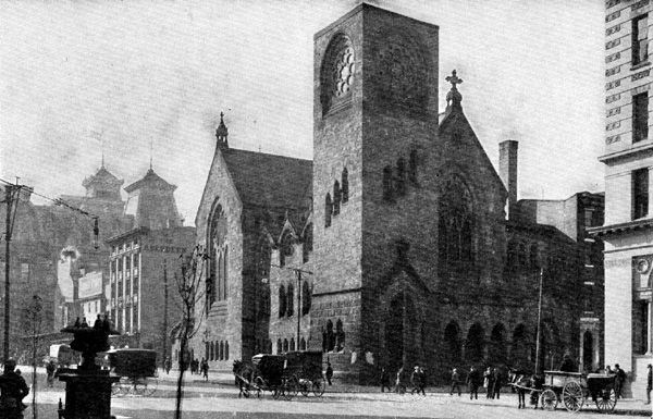 The exterior of the Lutheran Church of Holy Communion in Philadelphia. This an old black and white photograph.