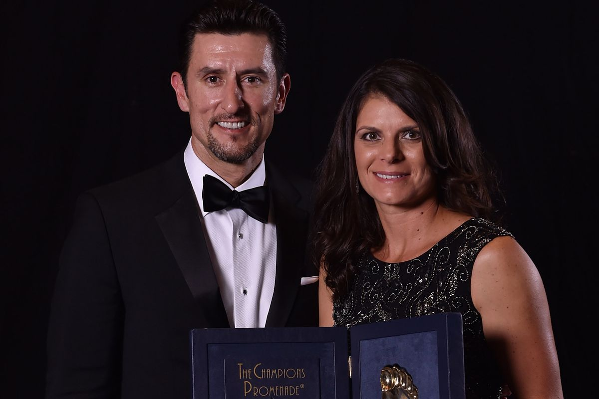 Hamm (right) with husband, LAFC co-owner Garciaparra.