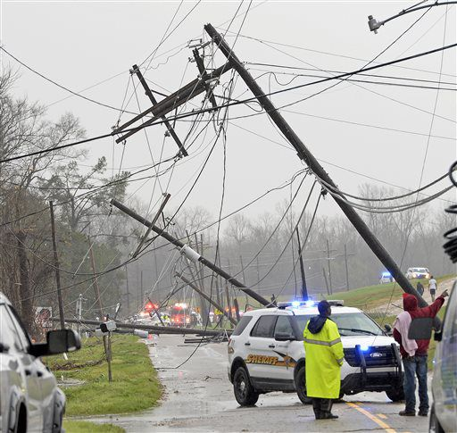 Damage from a tornado is seen on Tuesday near Convent, Louisiana. | Bill Feig/The Advocate via AP