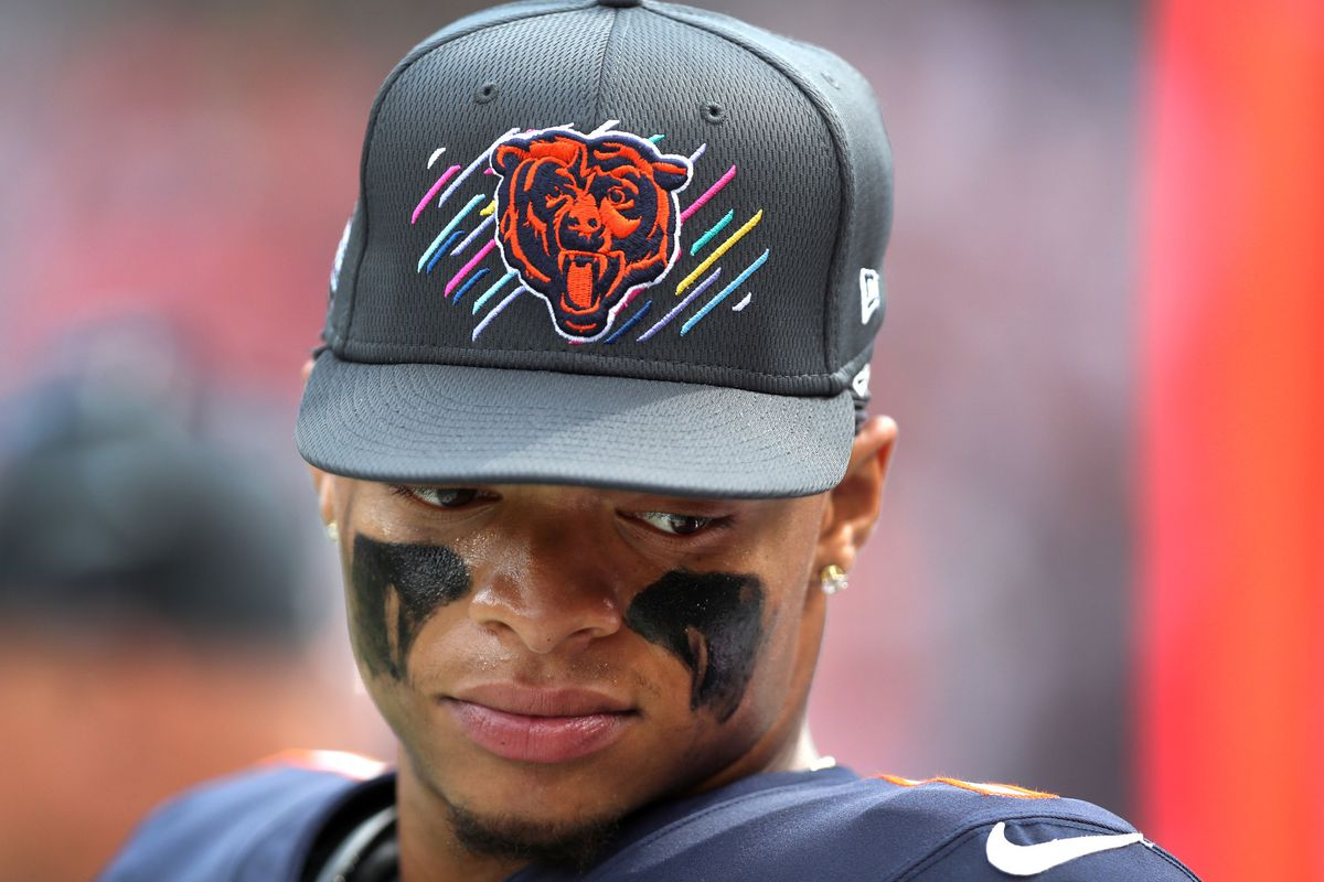 Chicago Bears quarterback Justin Fields (1) stands on the sideline in the fourth quarter against the Detroit Lions at Soldier Field in Chicago on Sunday, Oct. 3, 2021.