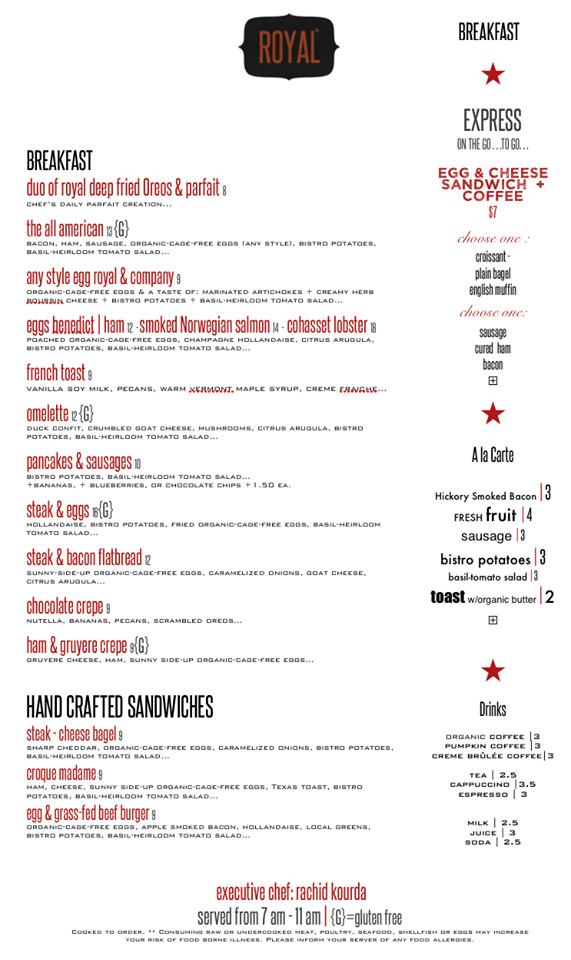 Royal breakfast menu