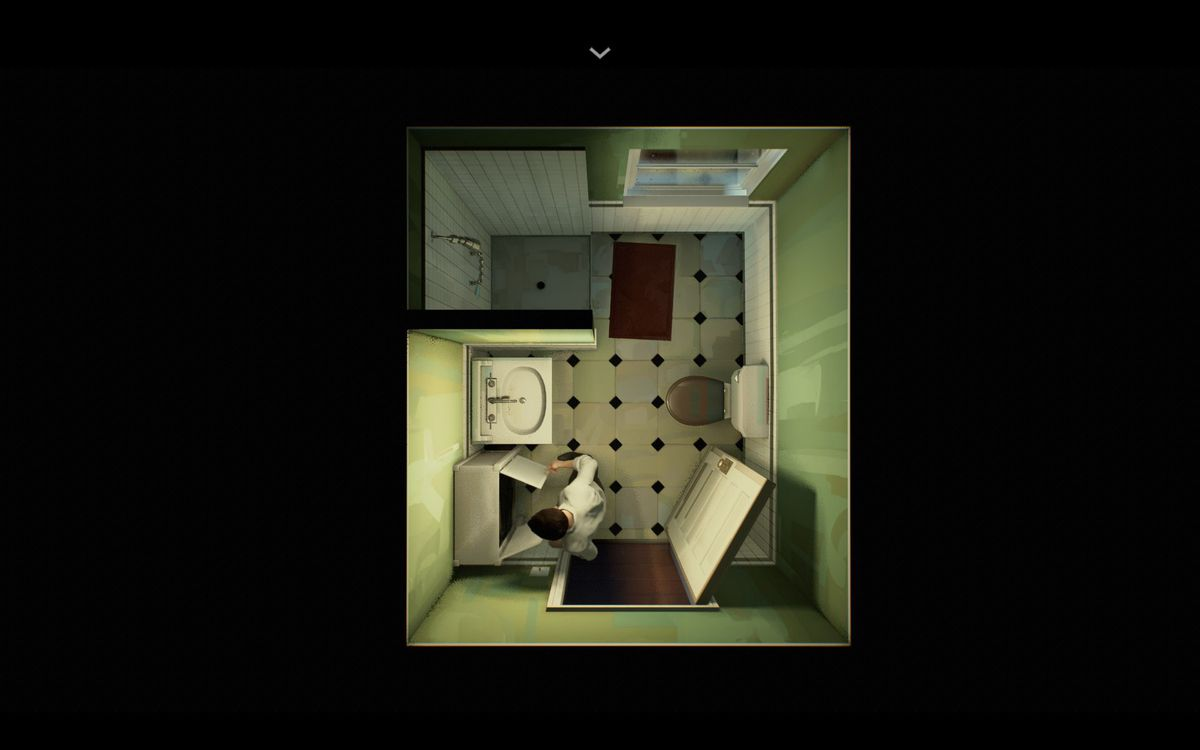 an overhead shot of a man reaching into a medicine cabinet in a bathroom in Twelve Minutes