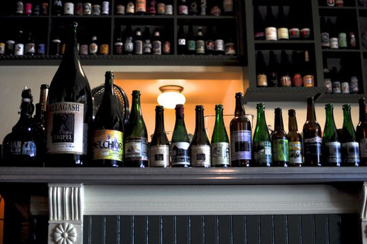 Bottles all lined up at the Trappist.