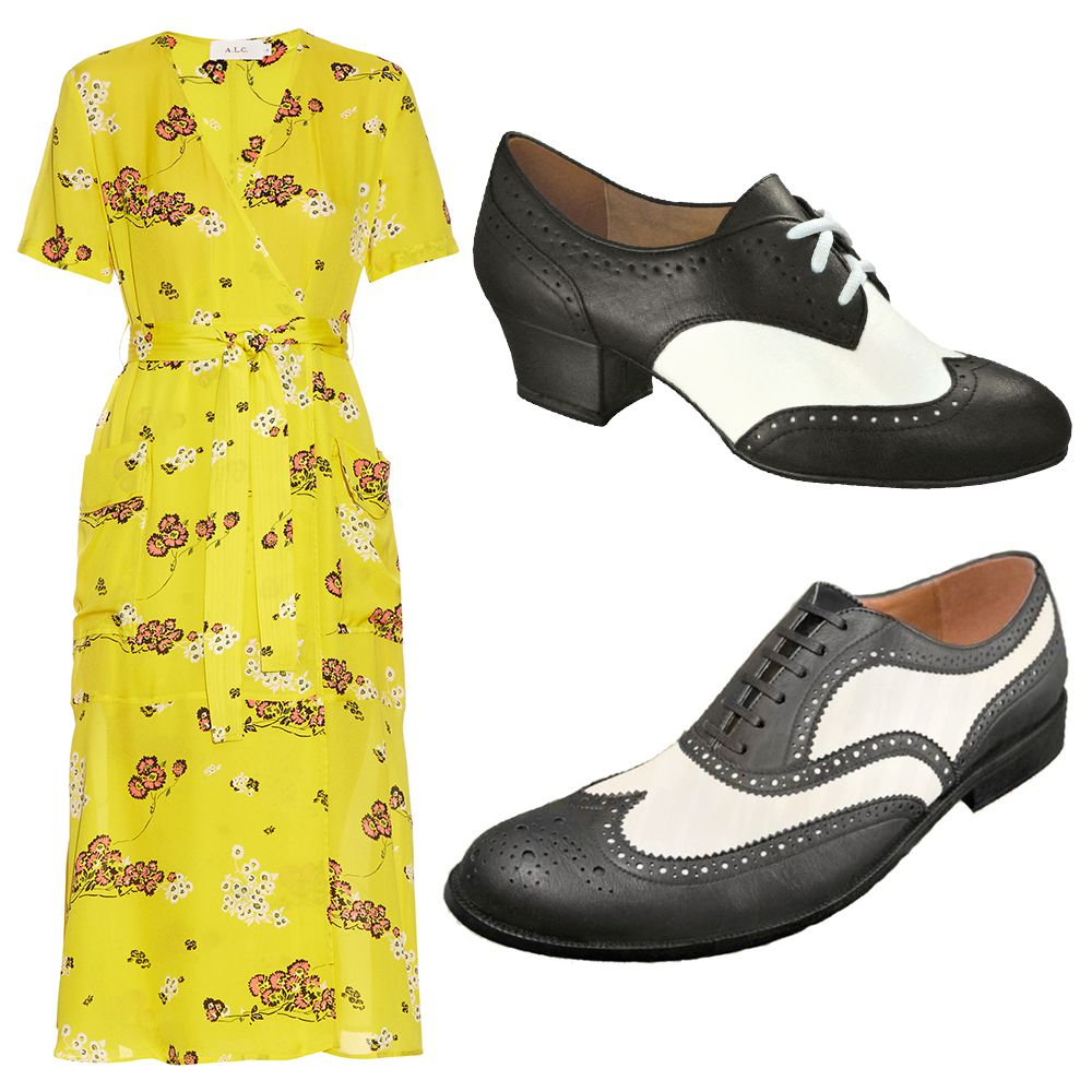 A.L.C. Stephanie Dress, $660, Worldtone Aris Allen Women's Spectator Oxford ($75). Worldtone Aris Allen Men's Deluxe Swingtip ($85).