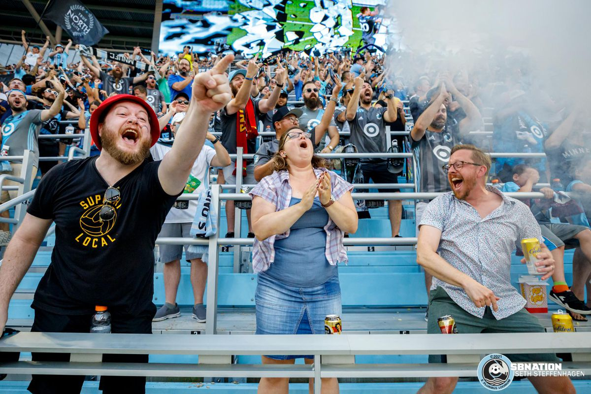 July 3, 2021 - Saint Paul, Minnesota, United States - Supporters in The Wonderwall celebrate as Minnesota United forward Ramón Ábila (9) scores a goal off a penalty kick during the match against the San Jose Earthquakes at Allianz Field. (Photo by Seth Steffenhagen/Steffenhagen Photography)