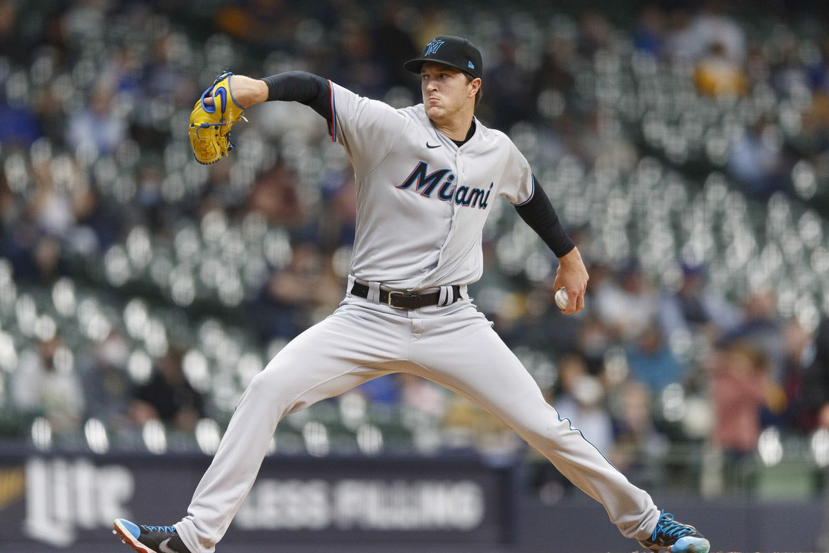 Miami Marlins pitcher Trevor Rogers (28) throws a pitch during the first inning against the Milwaukee Brewers at American Family Field.