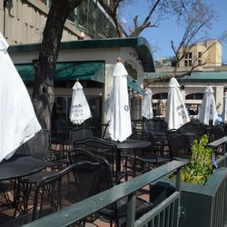 1:50 p.m. Captain Morgan Club ready for opening -