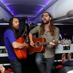 The Bright Light Social Hour performs in-flight.