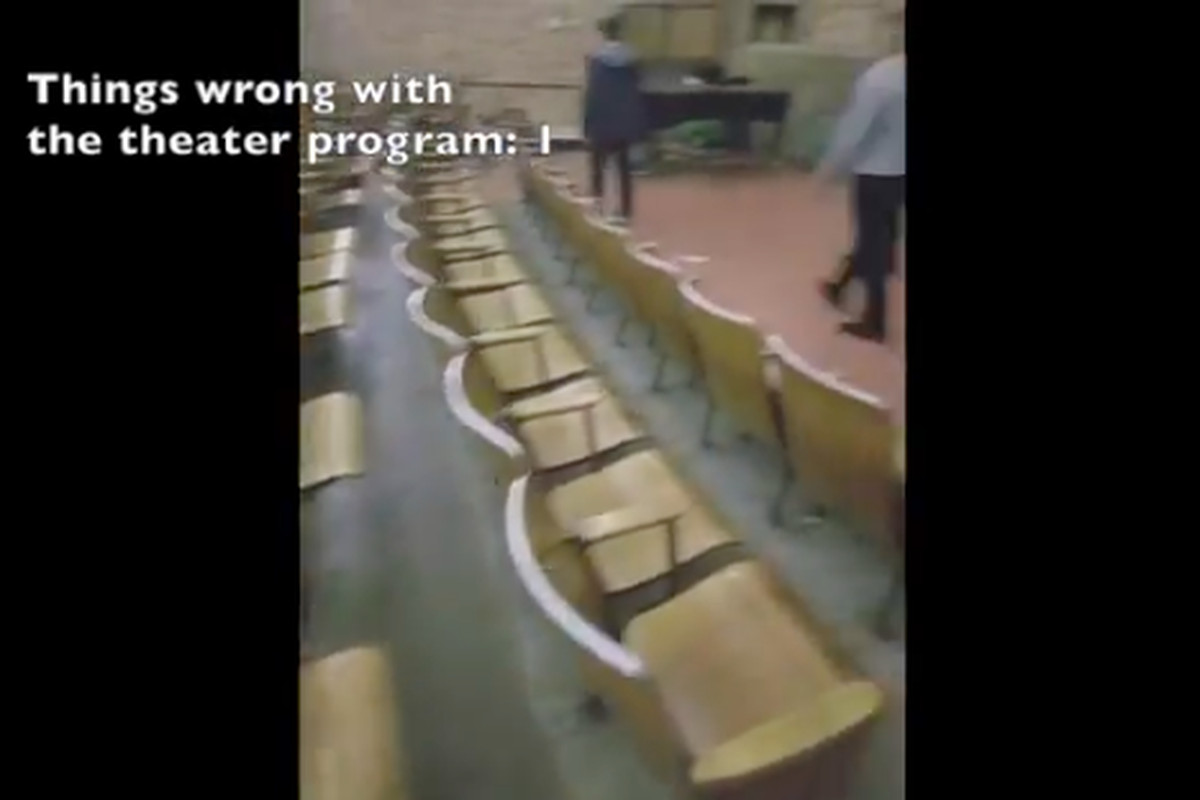 Students at Kunsmiller Creative Arts Academy tick off the problems with their theater facilities. (Courtesy NBC)