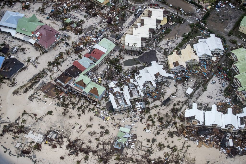 This Sept. 6, 2017 photo provided by the Dutch Defense Ministry shows storm damage in the aftermath of Hurricane Irma, in St. Maarten.   Gerben Van Es/Dutch Defense Ministry via AP