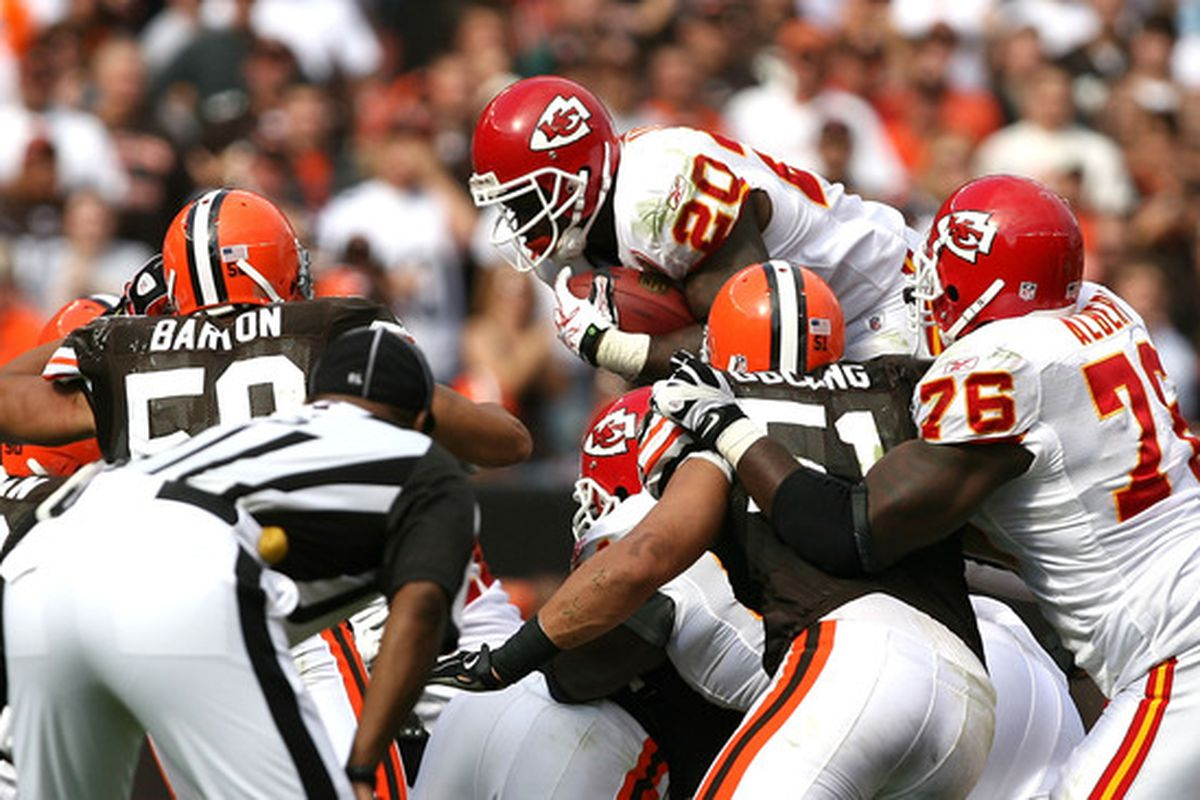 CLEVELAND - SEPTEMBER 19:  Running back Thomas Jones #20 of the Kansas City Chiefs dives for a first down against the Cleveland Browns at Cleveland Browns Stadium on September 19 2010 in Cleveland Ohio.  (Photo by Matt Sullivan/Getty Images)