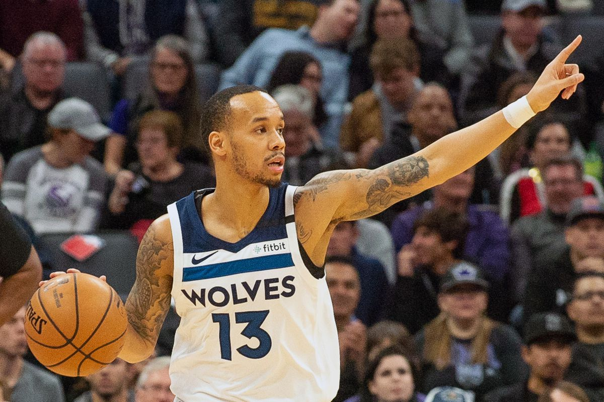 Minnesota Timberwolves guard Shabazz Napier pushes the ball up the court against the Sacramento Kings during the first quarter at Golden 1 Center.