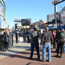 Sun 3:52 p.m. Crowd in front of the ballpark, taking photos -
