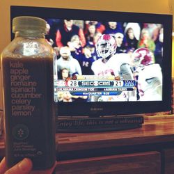 Happy Saturday to me—green juice and football! And what an amazing game! I love watching sports. The athleticism is insane and always inspiring. And this BluePrint green juice is so refreshing you can practically taste the nutrients.