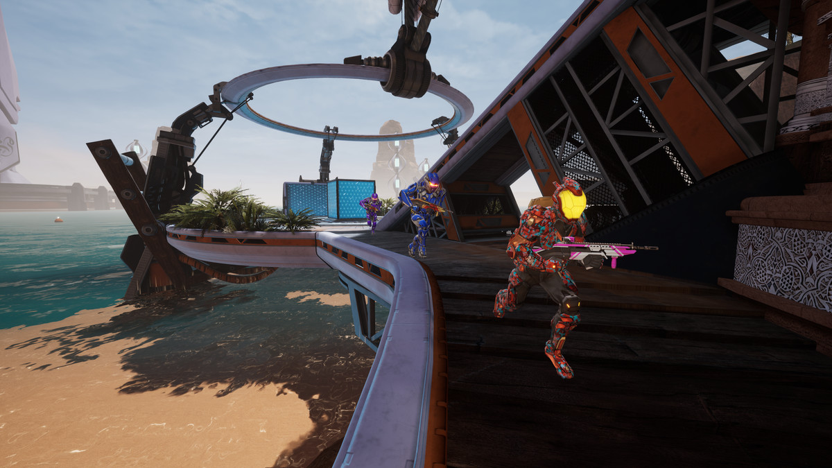 Three Splitgate players running in a line