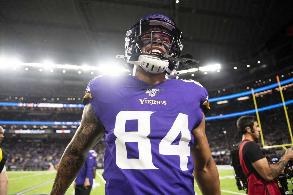 Irv Smith #84 of the Minnesota Vikings on the field before the game against the Green Bay Packers at U.S. Bank Stadium on December 23, 2019 in Minneapolis, Minnesota.