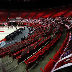 No fans were allowed to watch the Utah Utes and Stanford Cardinal game due to COVID-19 in Salt Lake City on Thursday, Jan. 14, 2021. The Utes won 79-65.