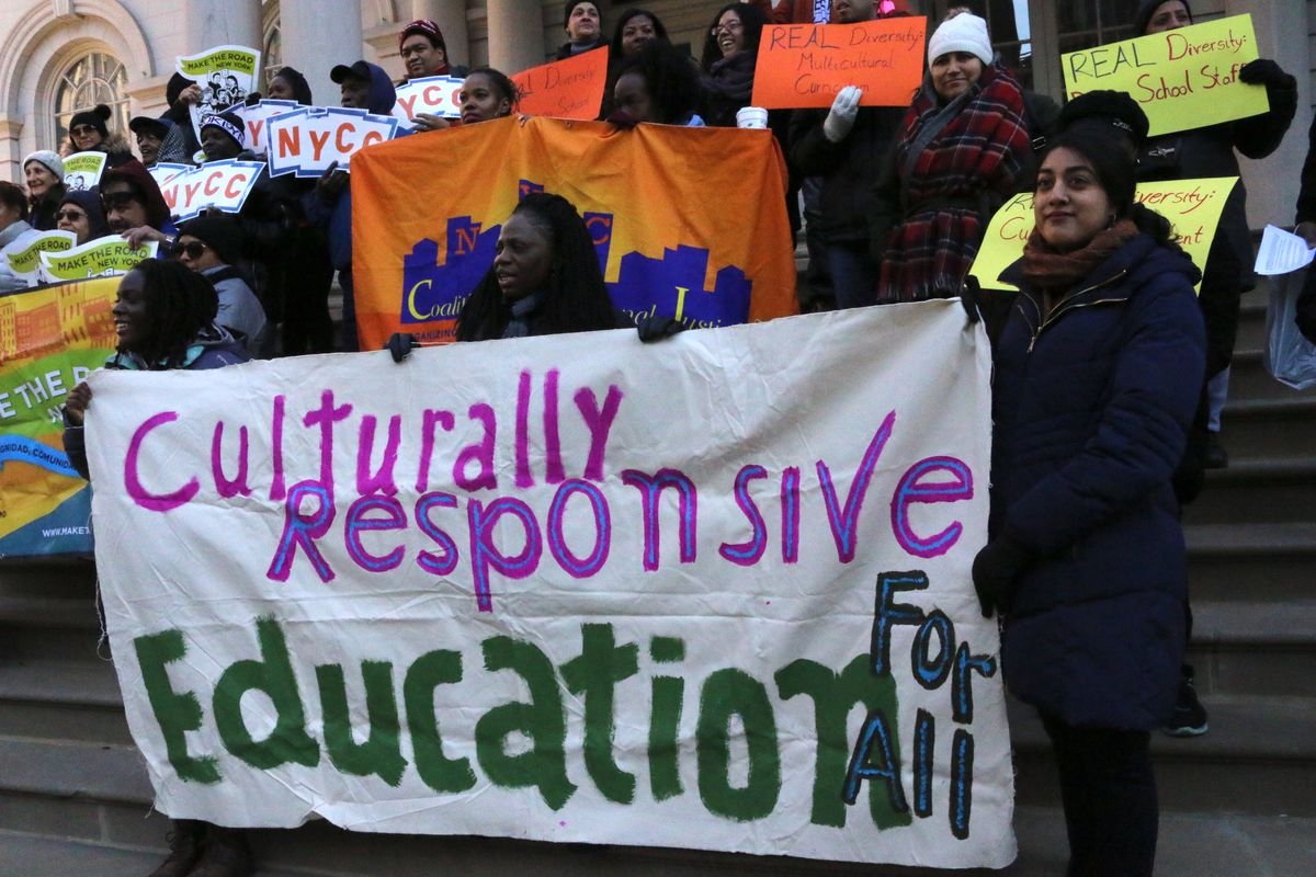 Advocates rallied at City Hall in December 2017, to demand the education department provide anti-bias training for teachers and culturally relevant education for students.