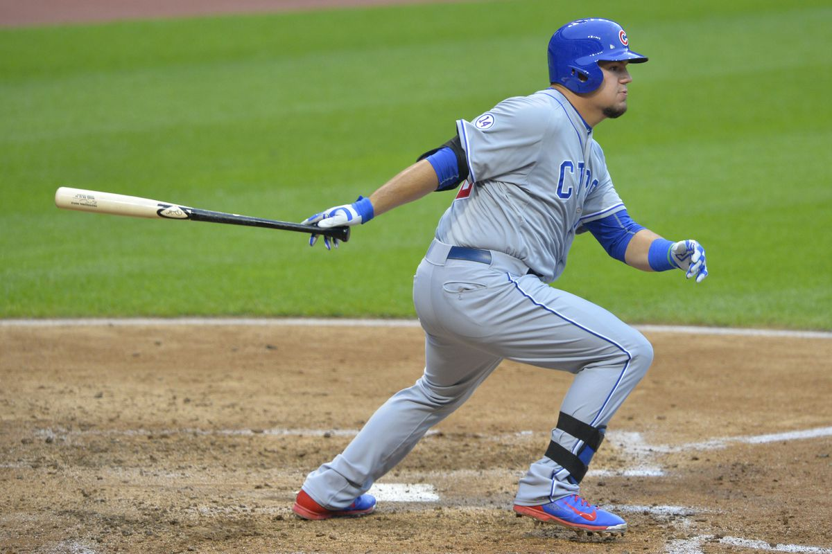Cubs hitting machine/catcher Kyle Schwarber.