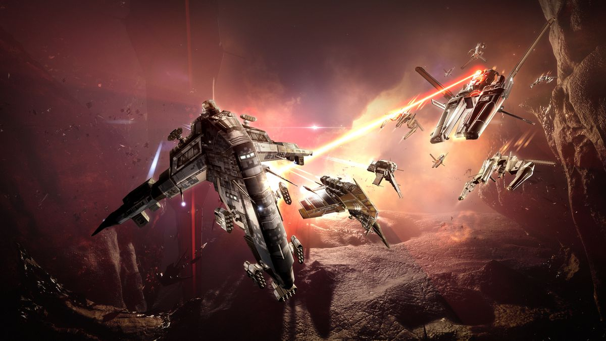 A battle scene from the game EVE Online.