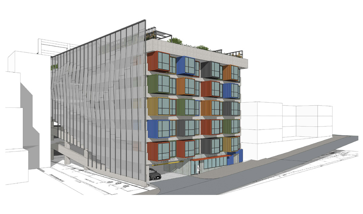 A rendering of a colorful building.