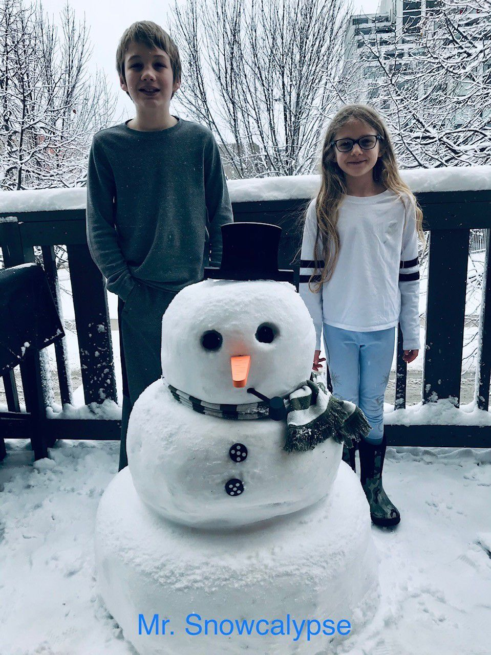 A snowman by Alessio C., 11, and Zoe C., 8, siblings in sixth and third grades at South Loop Elementary School in Chicago.