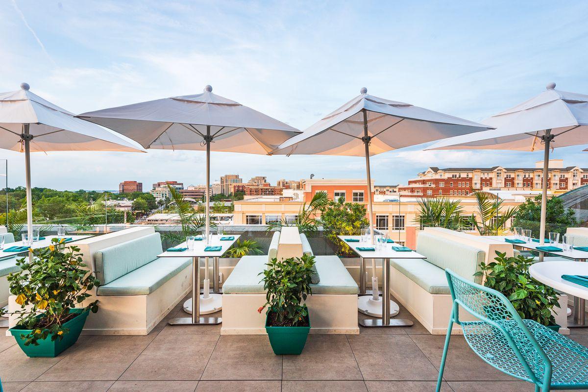 Buena Vida Social Club booths on the roof