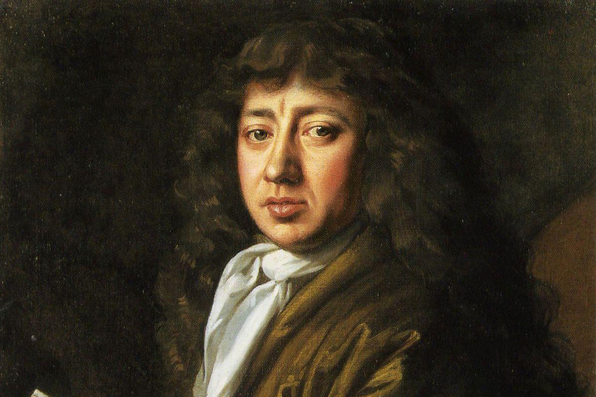 17th century portrait of Samuel Pepys, in wig and coat.