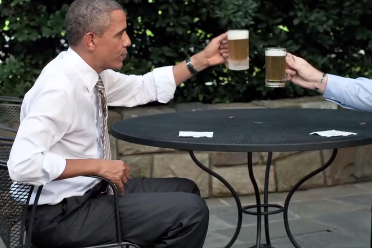 Obama enjoys a cold one.