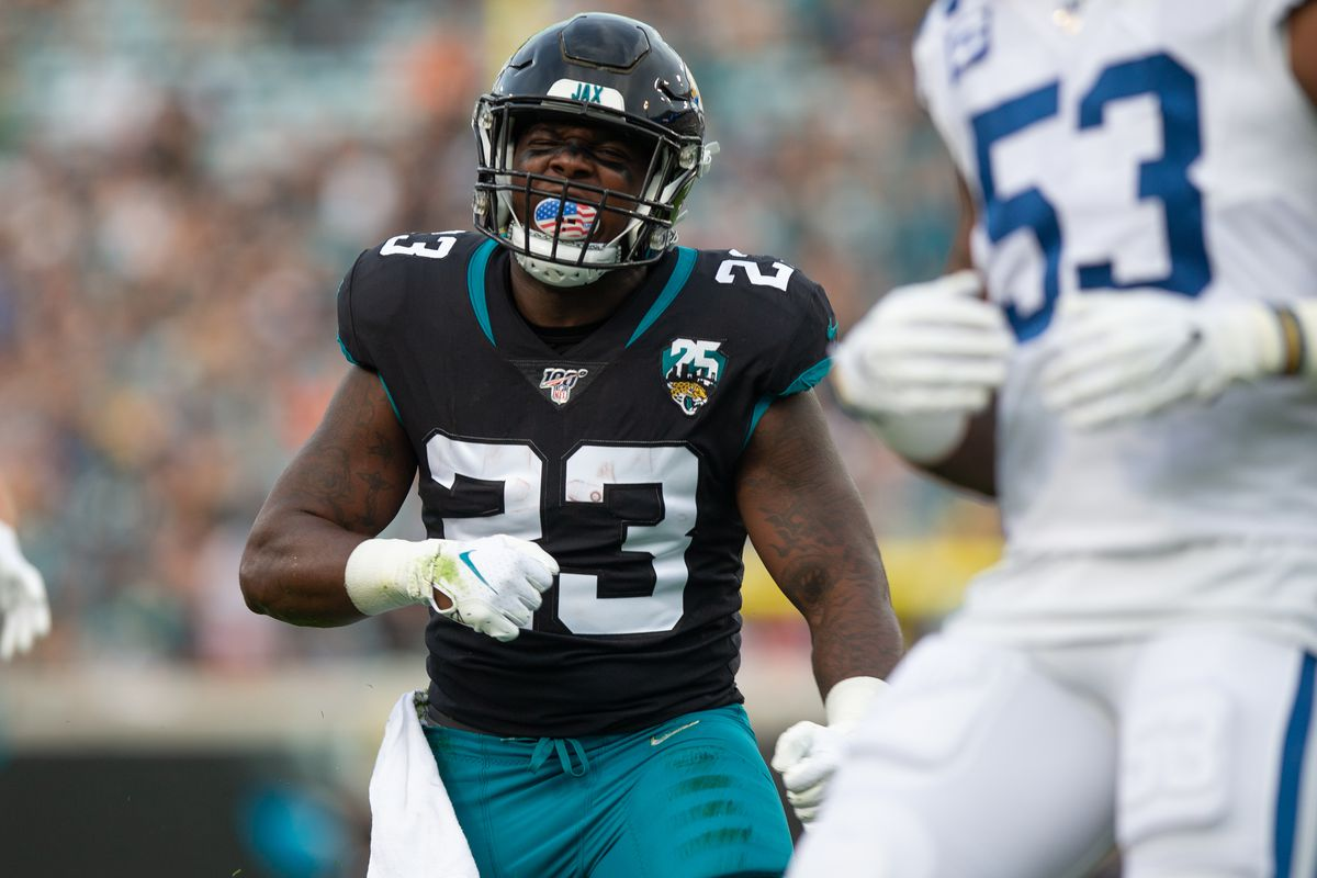 Jacksonville Jaguars Running Back Ryquell Armstead reacts after a play during the game between the Indianapolis Colts and the Jacksonville Jaguars on December 29, 2019 at TIAA Bank Field in Jacksonville, Fl.
