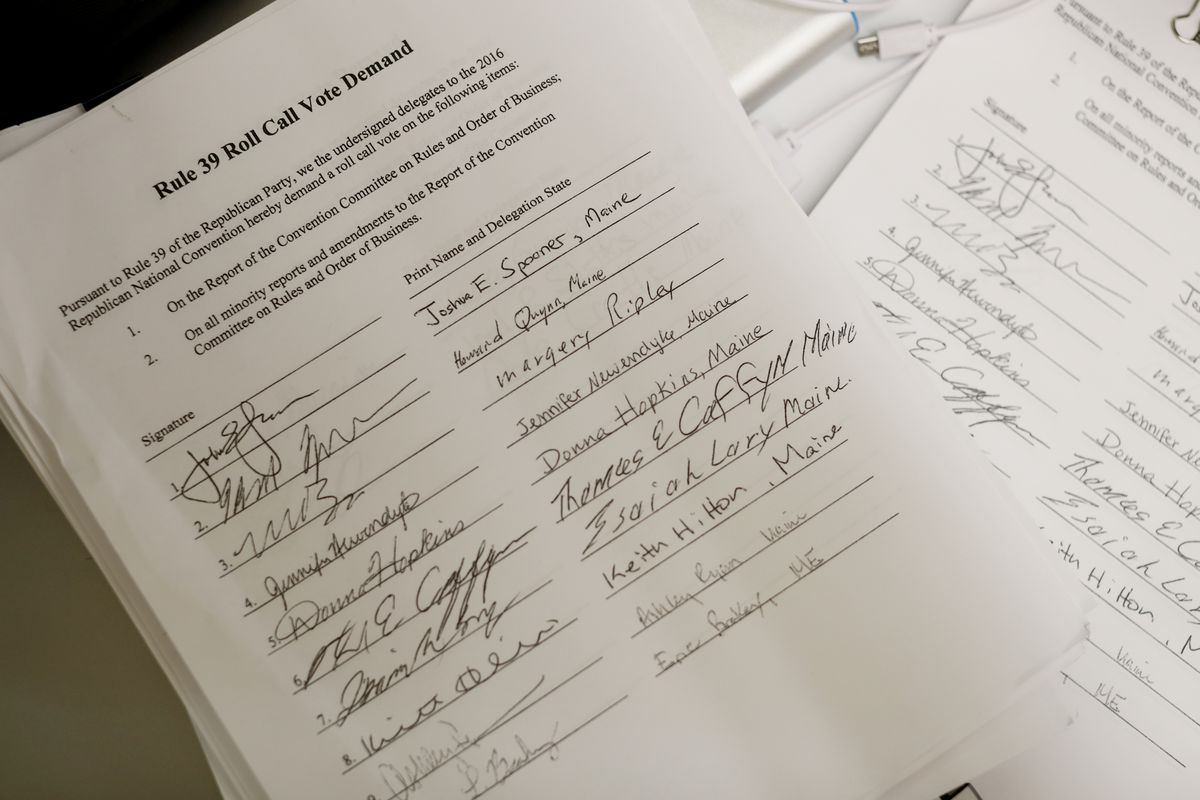 Signatures are displayed demanding for a roll call vote on the first day of the Republican National Convention on July 18, 2016, at the Quicken Loans Arena in Cleveland, Ohio. An estimated 50,000 people are expected in Cleveland, including hundreds of protesters and members of the media. The four-day Republican National Convention kicks off on July 18.