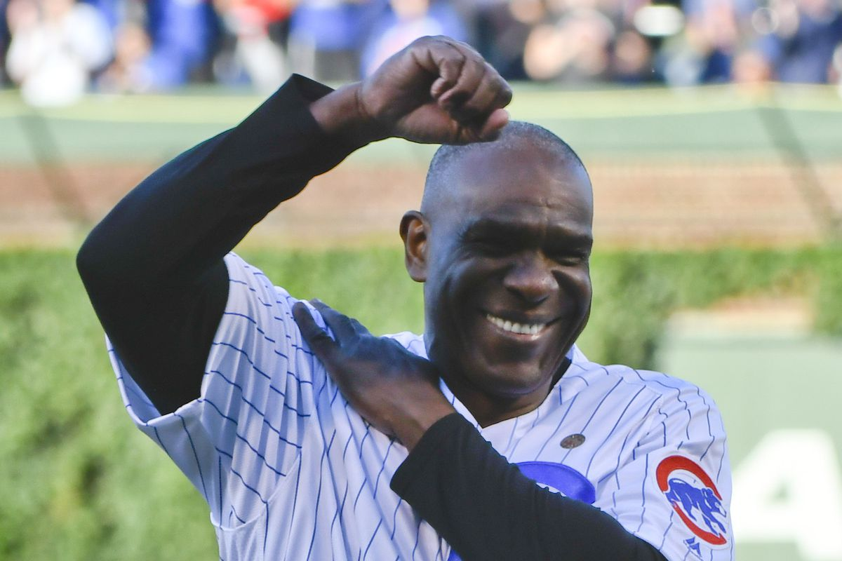 Jun 5, 2017; Chicago, IL, USA; Chicago Cubs former player Andre Dawson throws out a ceremonial first pitch before the game against the Miami Marlins at Wrigley Field. He is currently a special assistant for the Marlins. Mandatory Credit: Matt Marton-USA TODAY Sports