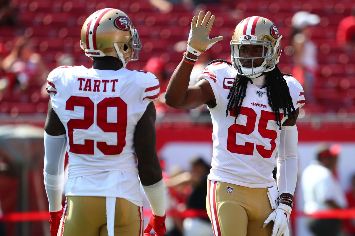 San Francisco 49ers cornerback Richard Sherman and strong safety Jaquiski Tartt prior to the game against the Tampa Bay Buccaneers at Raymond James Stadium.