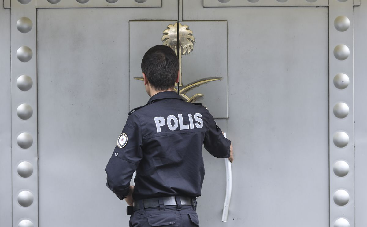 Turkish police provide security around Saudi Arabia's Consulate in Istanbul on October 12, 2018.