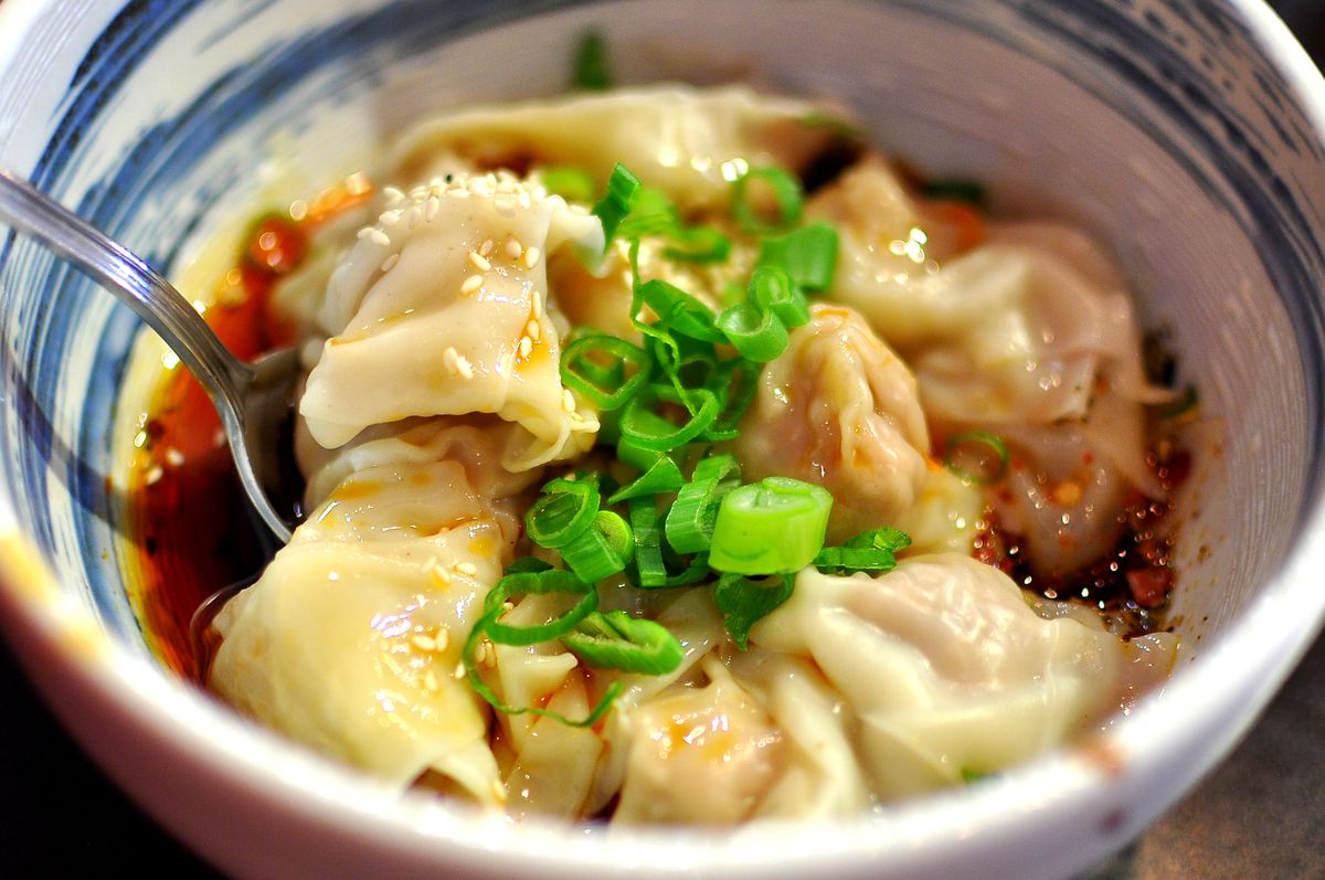 Numb taste wontons at Chengdu Taste in San Gabriel